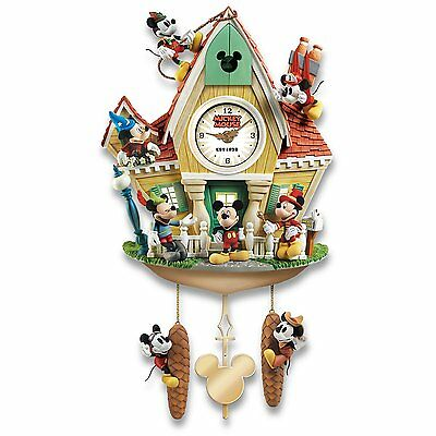 Disney Mickey Mouse Through The Years Wall Cuckoo Clock Lights Music & Motion