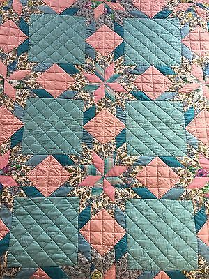 Vintage XL Hand Pieced Quilted Cotton Patchwork Star Quilt Blue and Pink