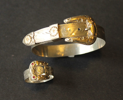 Fritch Bros Silversmiths Sterling 10K Yellow Gold Spinel Buckle Ring & Bracelet