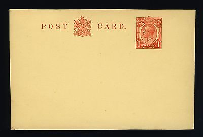 GB - KGV - ca1920 - STAMPED TO ORDER 1d RED on YELLOW POSTAL CARD - MINT