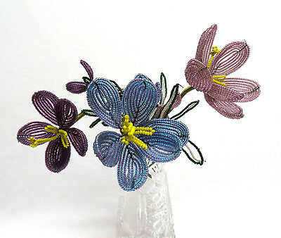 3 French Glass Hand Beaded Wire Flowers Buds & Leaves ~ Purple Lavender & Blue
