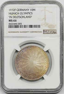 1972F Germany Munich Olympics In Deutschland Silver 10M Mark MS66 NGC Color