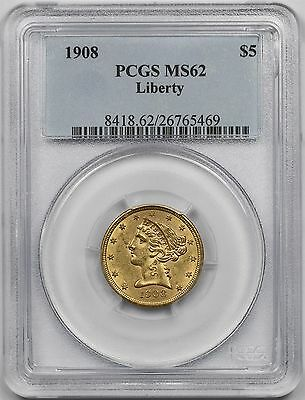 1908 Liberty Head Gold Half Eagle $5 MS 62 PCGS