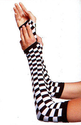 Gloves Fingerless Checkerboard Gothic Shoulder Length Polyester ArmWarmers Black