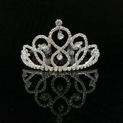 Wedding Prom Bridal Crown Drops Crystal Headband Tiara Headdress Accessory