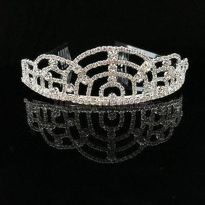 Wedding Prom Bridal Crown Rhinestone Crystal Alpha Headband Tiara Head Decor