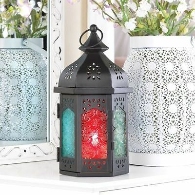 10 x ORNATE BLACK DOME TOP HEXAGON METAL LANTERN MOROCCAN INDIAN WEDDING JOB LOT