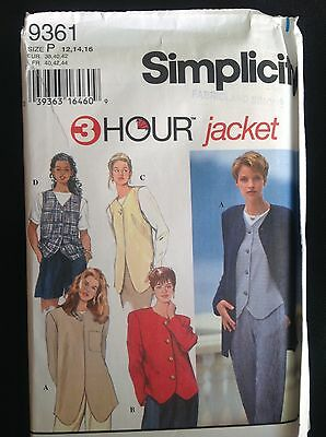 Pattern Simplicity 9361 misses'  3 hour jacket and vests size 12-16