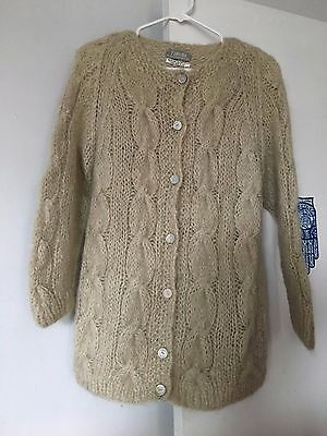 Vintage FAMELIA FRAPPE hand made Italy MOHAIR WOOL CARDIGAN SWEATER Mocha