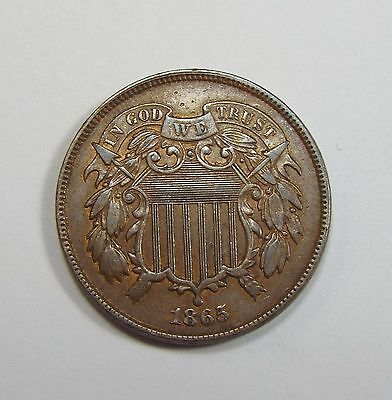 1865 Two-Cent Piece EXTRA FINE+ 2-Cents