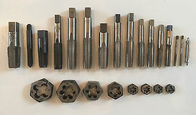 Lot New / Used Union Butterfield Bay State tap & die set taps dies HSS 24 pieces