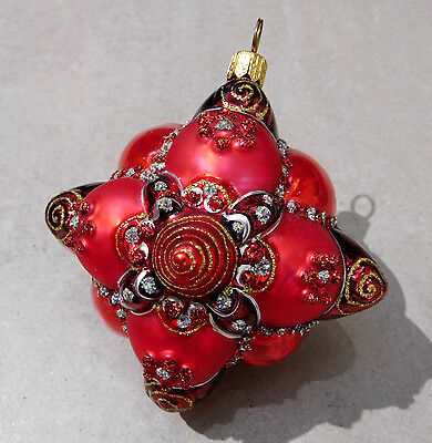 Old World Christmas Jewel Red Puffy Blown Glass Ornament #290L