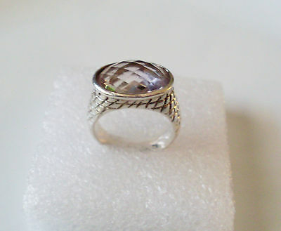 Heavy solid 925 STERLING SILVER 6 CT Brazilian amethyst RING  Size 9