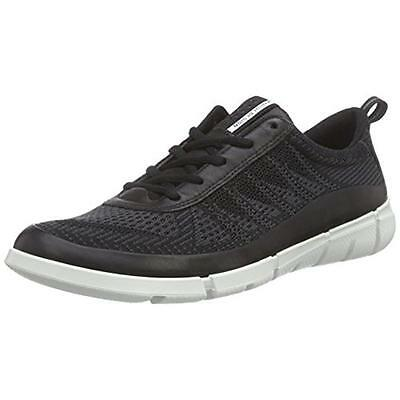 ECCO 8707 Mens Black Leather Mesh Casual Shoes Sneakers 46 Medium (D) BHFO