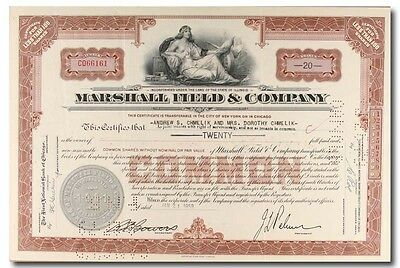 S421 Marshall Field & Company Stock Certificate Brown