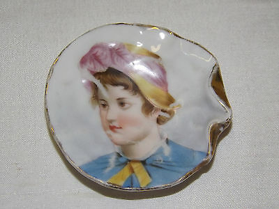 Antique Miniature Portrait Plate / Butter Pat - English Date Mark
