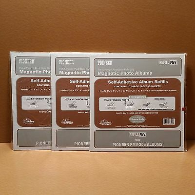 BRAND NEW LOT OF 3 Pioneer PMV-206 5 Sheet /10 Page Refill Packs Magnetic Albums