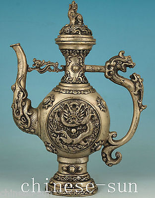 Rare Chinese Old Copper Not Silver Handmade Carving Dragon Collect Tea Pot