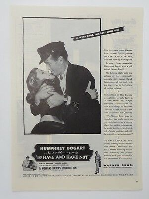 Original Print Ad 1945 Movie Ad TO HAVE AND HAVE NOT Humphrey Bogart