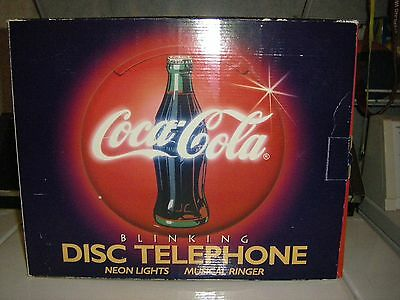 Vintage Coca Cola Blinking Disc Telephone, New In Box, New In Packaging 1995