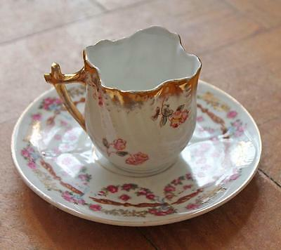 Exquisite antique GERMAN porcelain FLORAL pattern cabintet CUP & SAUCER