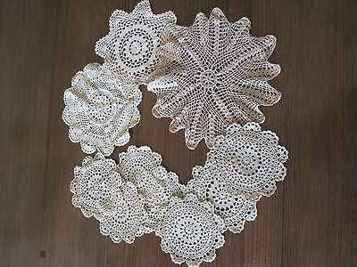 Nice Vintage Collection of 10 Doilies, Lace, Embroidery Shabby Chic Lot 8