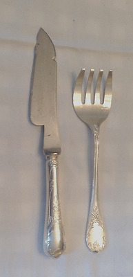 Christofle Vintage Silver Plate Fish Serving Set Marly Pattern