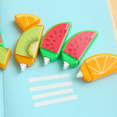 New 3pcs Plastic Fruit Correction Tape kids Students School Supplies Stationery