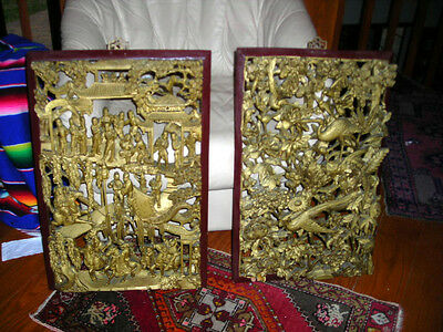 Clearance! Pair Carved Antique Chinese Late Qing Dynasty Wood Panels 26X17X3