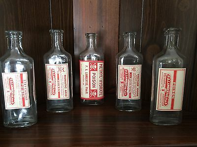 Lot Of 5 Vintage 1940s Prescription Poison Medicine Bottles - New Old Stock -
