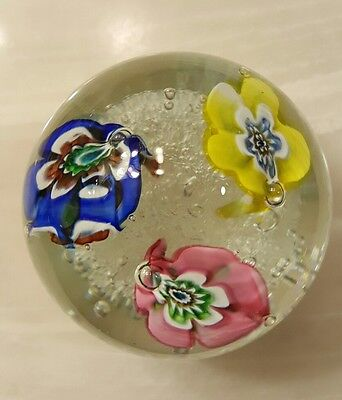 Vintage Murano Floral Clear Glass bubbled Paperweight. Beautiful