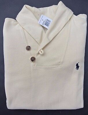 NEW Big Kids Boys 8 (S) Polo Ralph Lauren Cream Pony Cotton Shawl Collar Sweater