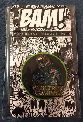 GAME of THRONES Winter Is Coming Soldier Bam Box Exclusive Limited Ed Parody Pin