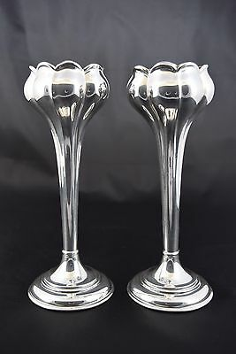 Pair Floral Design Silver Plate Vases