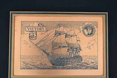 Antique Copper Etching in Hardwood Frame of HMS Victory by Etchmaster