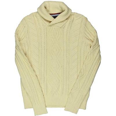 Tommy Hilfiger 1718 Mens Ivory Cable Knit Wool Blend Pullover Sweater XXL BHFO