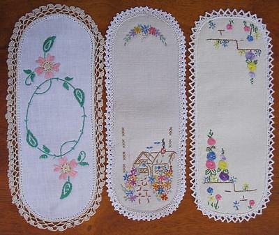 Three Hand Embroidered Vintage SANDWICH DOILIES / CROCHET Finish