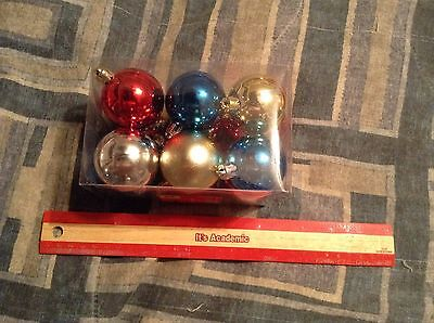 12 Pack of Colorful Round Ball Shaped  Ornaments Decorations Crafts NIP