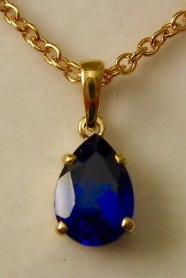 GENUINE  SOLID  9K  9ct YELLOW  Gold  Pear Shape Sapphire  Pendant