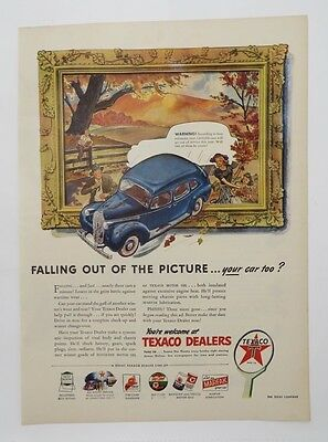Original Print Ad 1945 TEXACO DEALERS Fall Out of the Picture Vintage Artwork