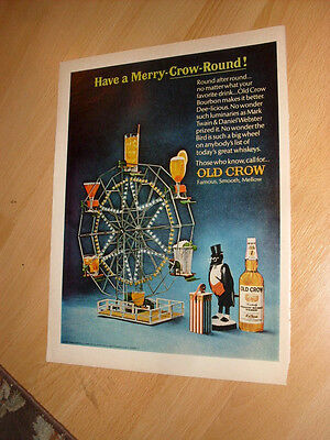 1960s Old Crow Whiskey Ad Have a Merry-Crow-Round Magazine Advertisement