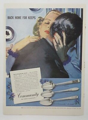 Original Print Ad 1945 COMMUNITY SILVERPLATE Back Home for Keeps Serviceman