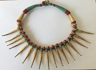 Vintage Ethnic Tribal Sass Bide Necklace Gold Silver Turquoise Indian Paid $250