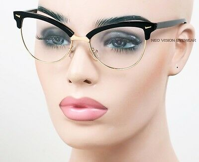 Large Clubmaster Gold Metal Cat Eye Aviator Vintage Style Glasses Clear K180