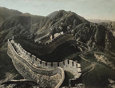 "ANTIQUE CHINESE HAND COLORED PHOTOGRAPH ""GREAT WALL OF CHINA"", 1900's"