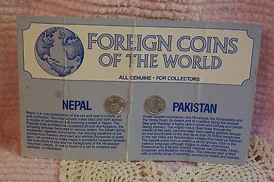 Vintage Foreign Coins Of The World For Collectors Card Nepal & Pakistan