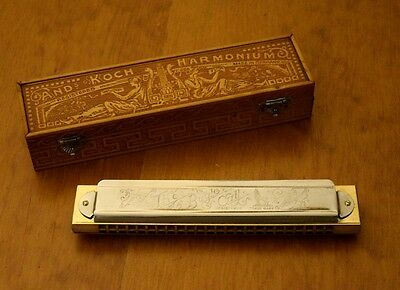 Antique Large Fancy Ands Koch Harmonica vintage Ornate Wooden Box Germany Key F