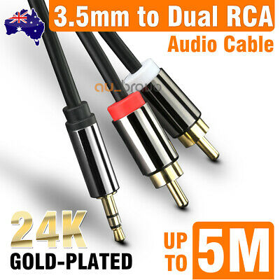 1M-5M Premium Stereo Audio 3.5mm Aux Jack to 2 RCA M/M Y Gold Plated Cable