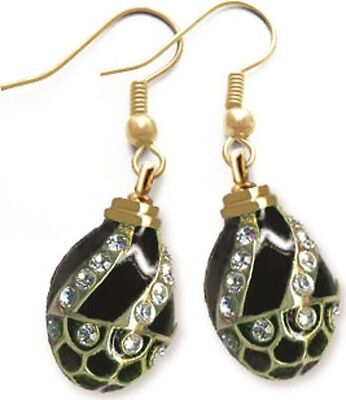 Faberge Egg Earrings with crystals 1.6 cm black #0853