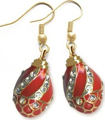 Faberge Egg Earrings with crystals 1.6 cm red #0853